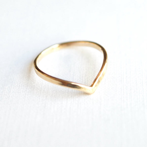 gold contour ring band