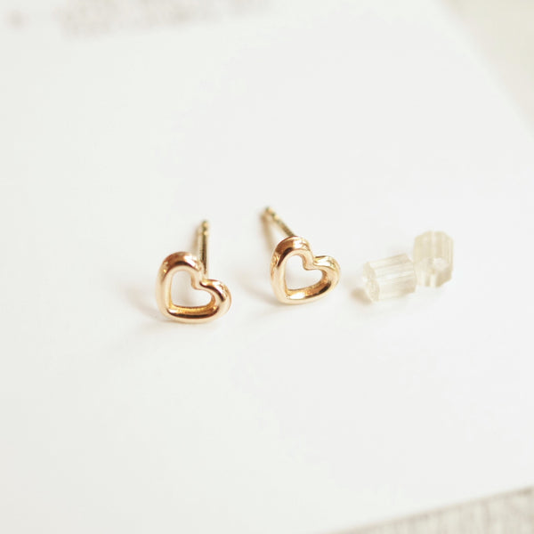 Tiny gold heart earrings