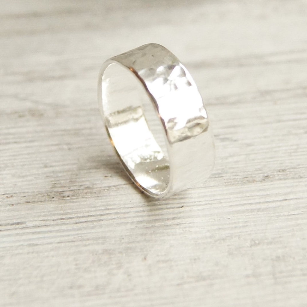 wide unisex hammered silver wedding band 6mm for men or women
