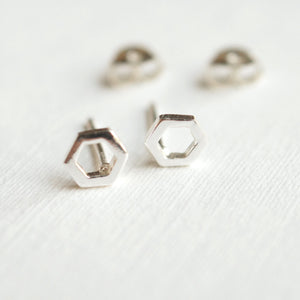 tiny silver hexagon studs