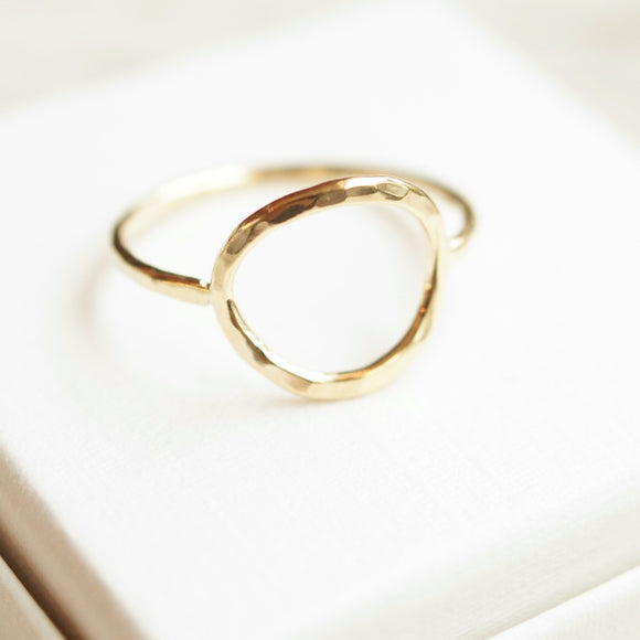 Karma open circle 10k gold ring