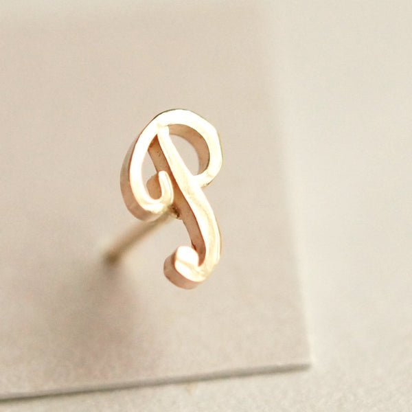 Tiny Gold Initial Alphabet Ear Post