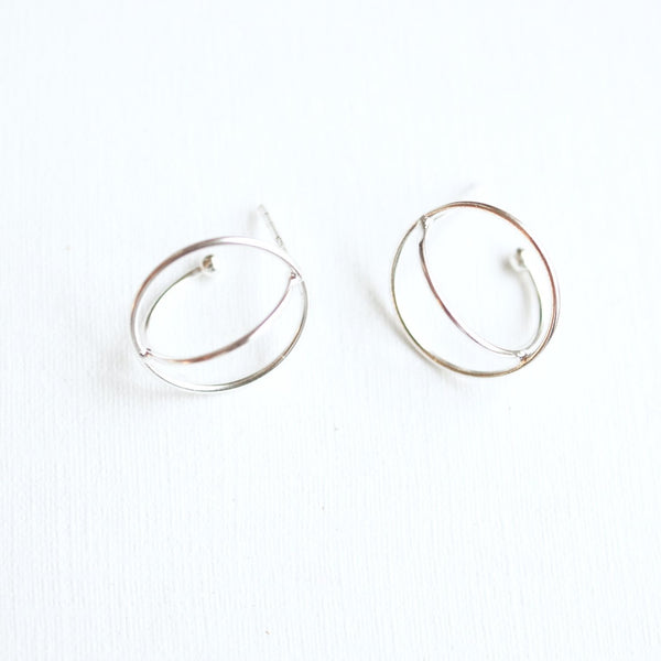 Circle Orb Stud Earrings