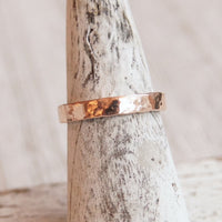 hammered rose gold wedding band