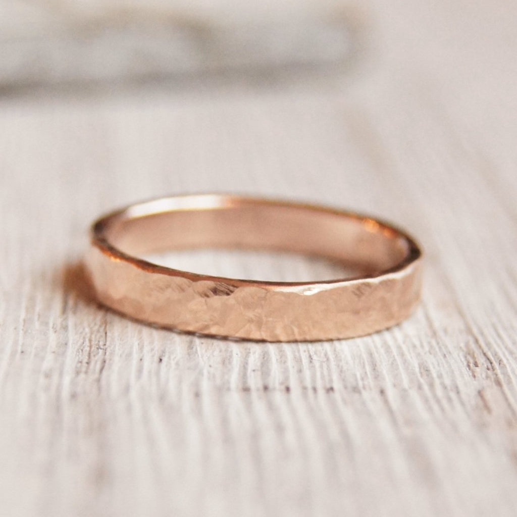 Modern simple wedding band solid 10K hammered gold 3mm wide 1.2mm thick