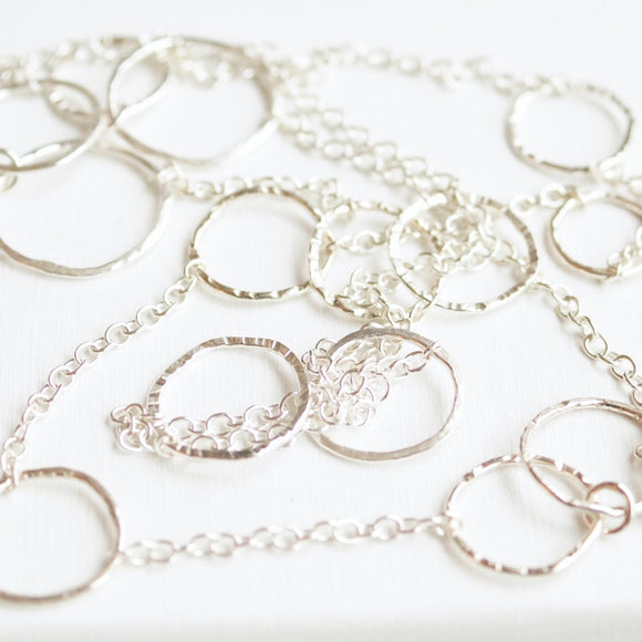 hammered Sterling silver link station chain necklace