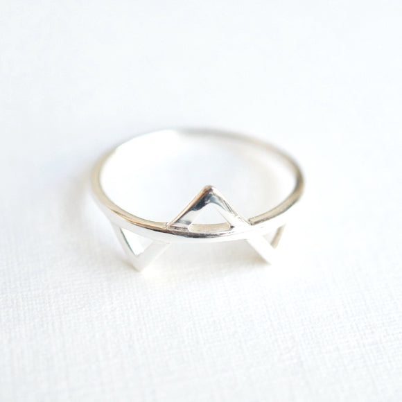 geometric triangle sterling silver ring
