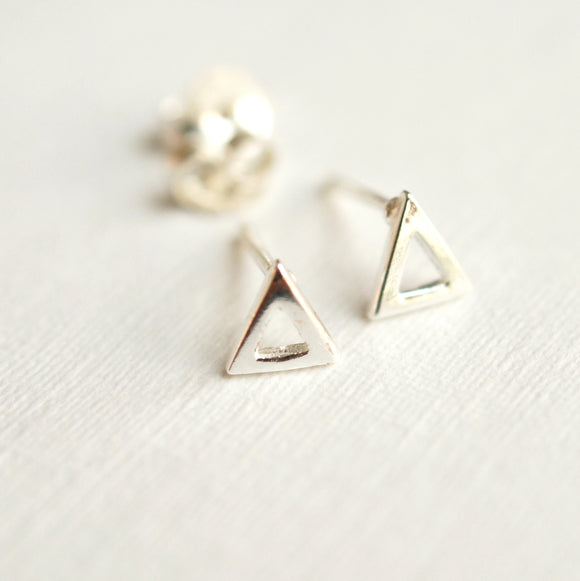 Silver Triangle Earrings