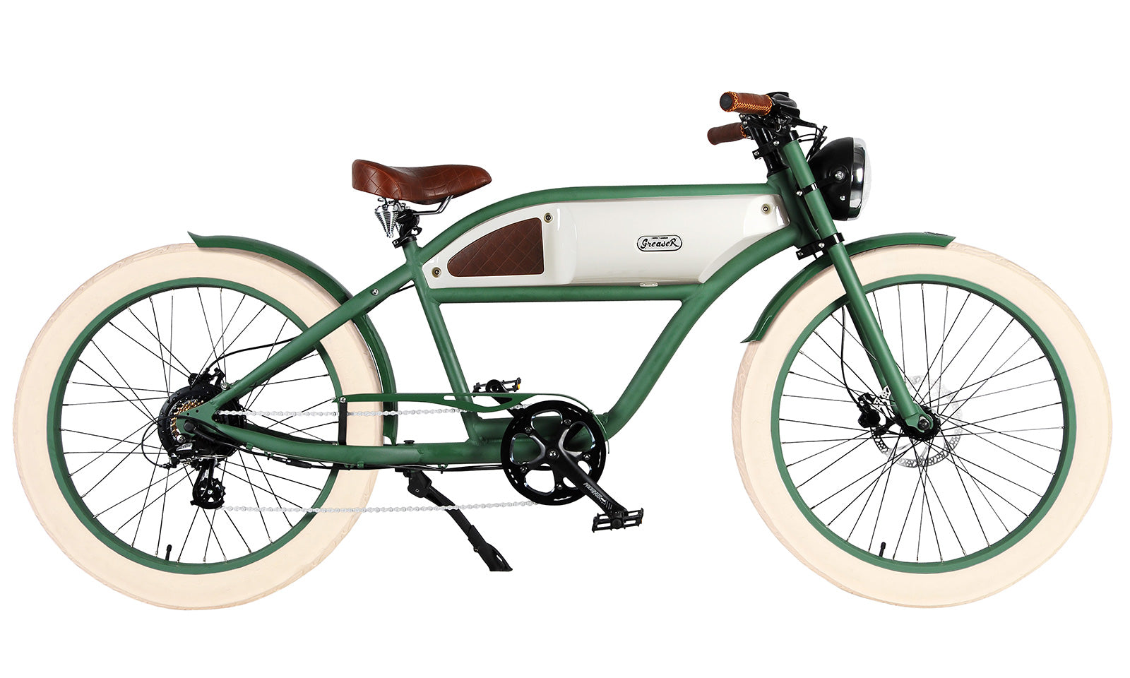 Green White Tank Brown Accents Tan Tire