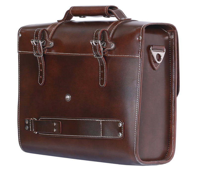 Back Rack Pannier Case - Brown Genuine Smooth Leather