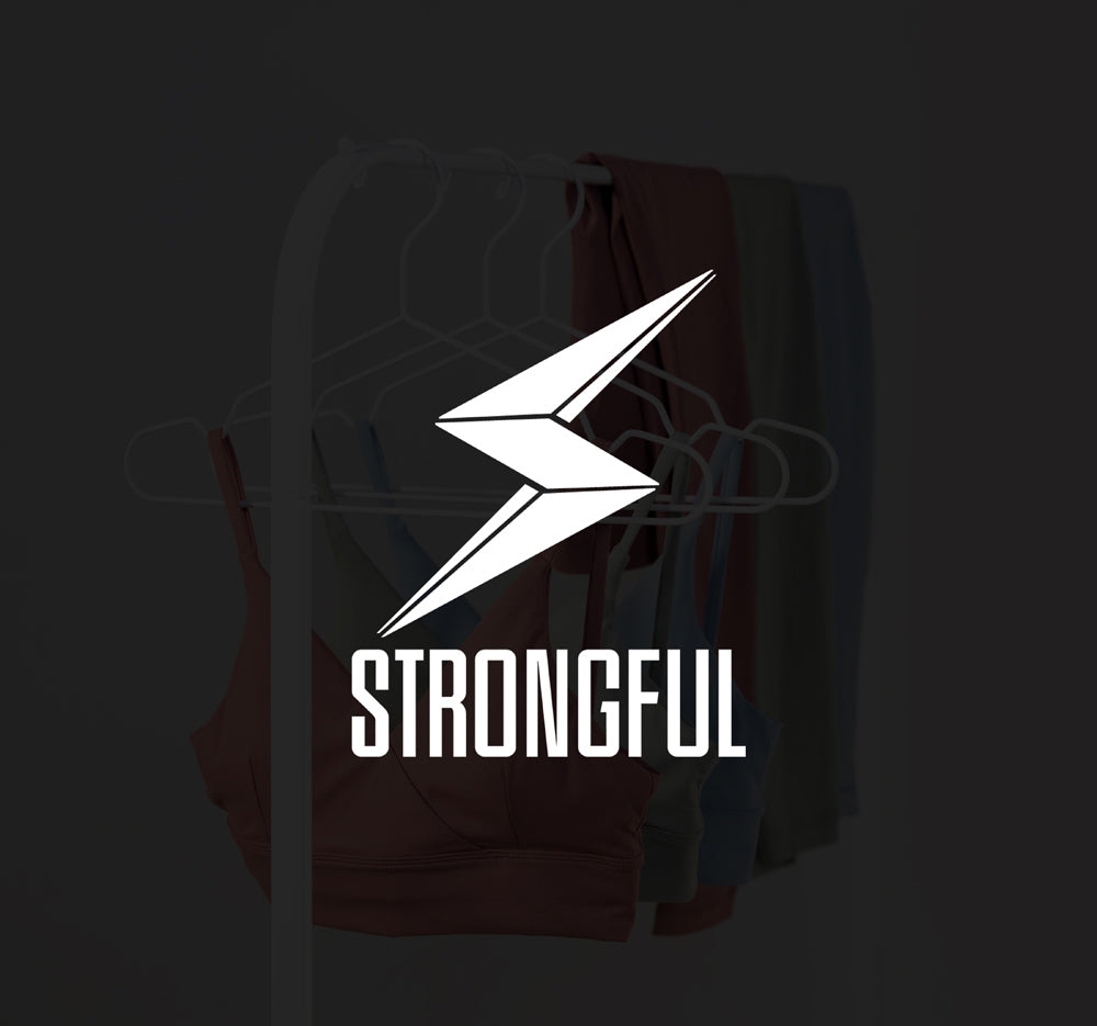 Strongful Hanging clothes with black overlay and white bold logo
