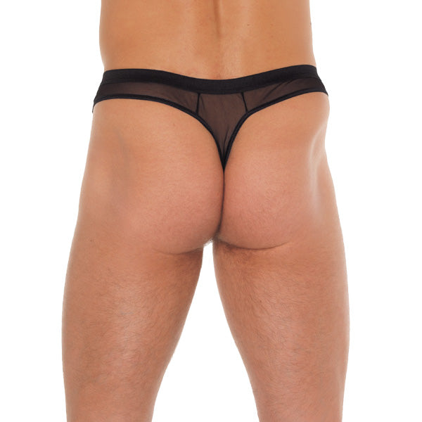 Mens Black GString With Penis Sleeve - The Coy Store