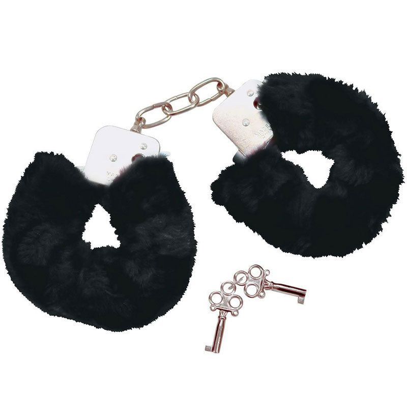 Bad Kitty Black Plush Handcuffs - The Coy Store
