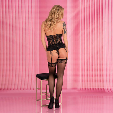 Corsetti Kalisa Black Corset And Panties - The Coy Store