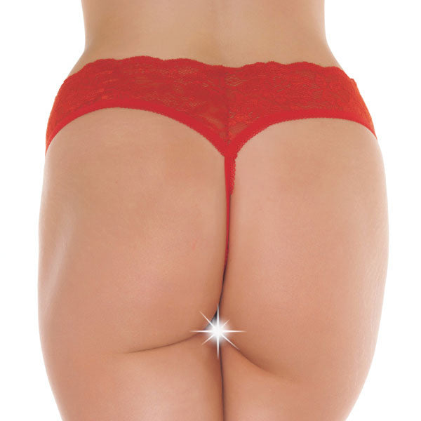 Red Lace Open Crotch GString - The Coy Store