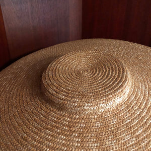 18th Century Shallow Crown, Wide Brim Bergère Hat - Gold Straw