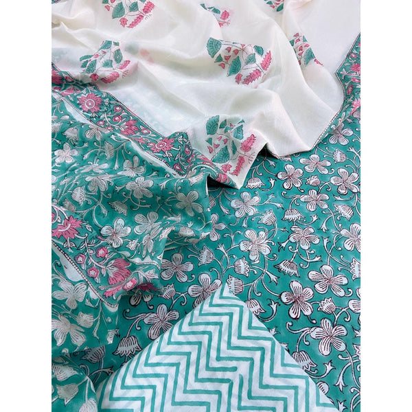 Sea green Cotton sets with mal mal dupatta (3pc)