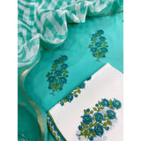 Sea green floral vine bootas Cotton sets with doriya dupatta (3pc)