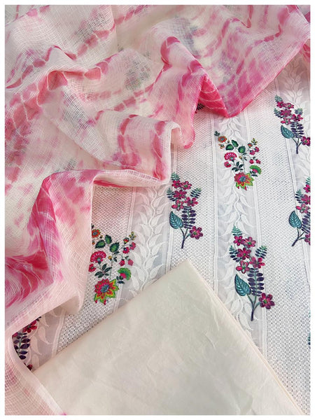 Peach  embroidered Cotton sets with doriya dupatta (3pcs)
