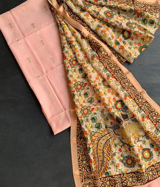 Coral peach top and digital printson dupatta with weaving booties chanderi suit sets (2pc)