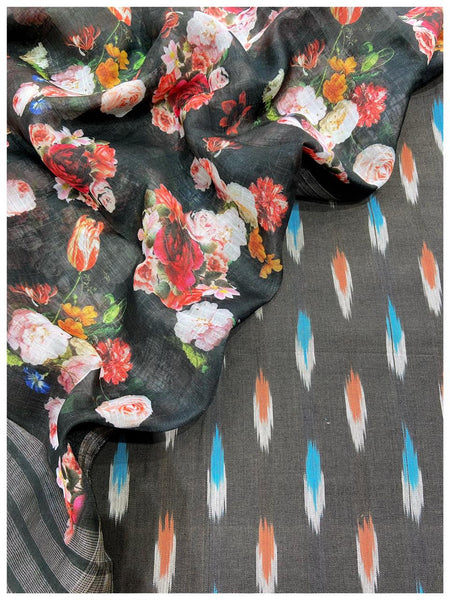 Charcol black ikat set with digital print flower dupatta (2pc)