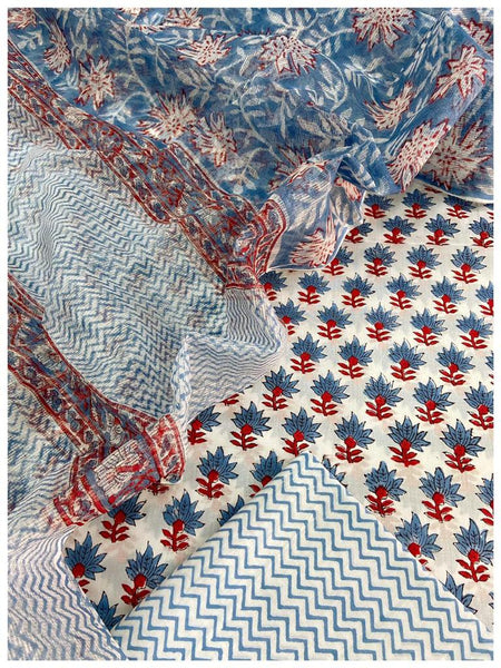 White  Cotton sets with blue floral prints with doriya dupatta (3pc)