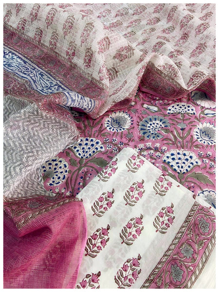 Periwinkle Cotton sets with doriya dupatta (3pc)