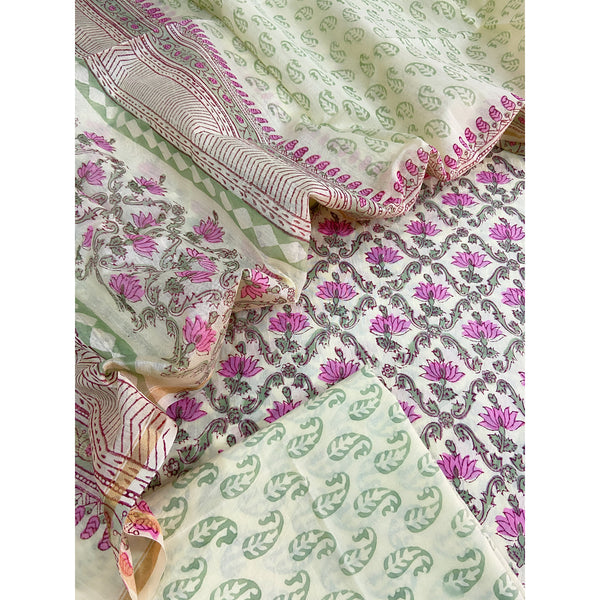 Light pista green Cotton unstitched suit with chanderi dupatta (3pc)