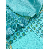 Turquoise booti Cotton unstitched suit with chanderi dupatta (3pc)