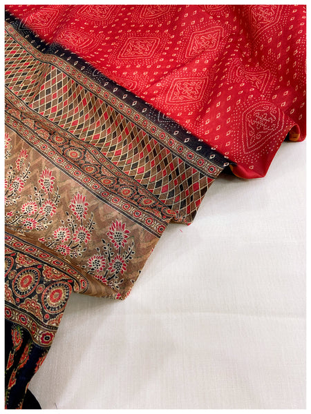 WHITE Linen Sets With  RED Chanderi Dupatta (2pc)