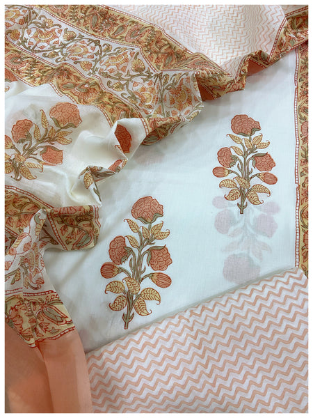White Cotton sets with mal mal dupatta (3pc)