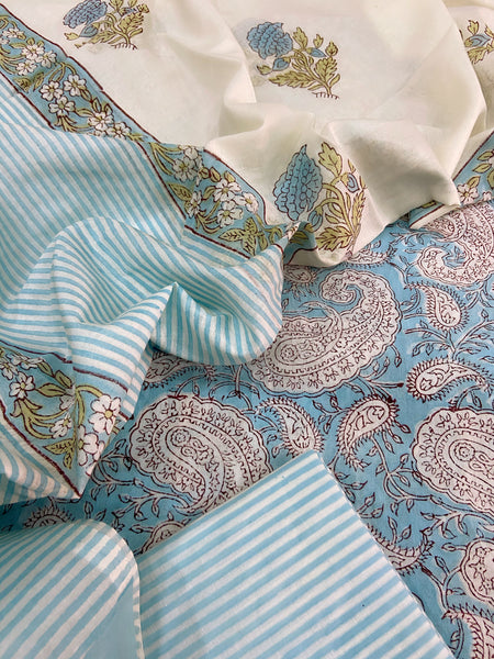 Light blue Paisley Cotton sets with mal mal dupatta
