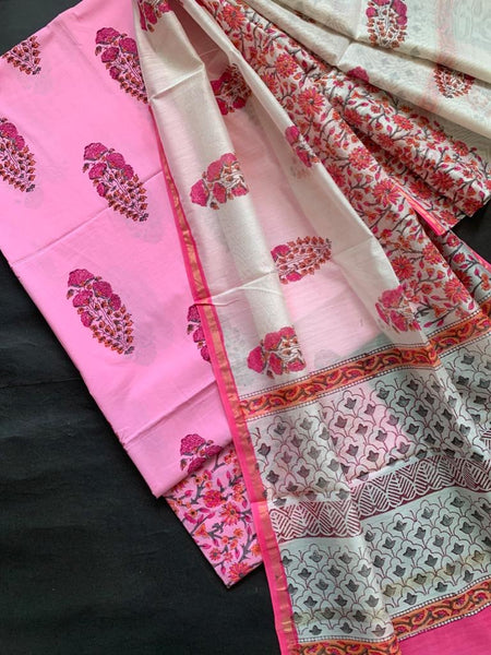 Pink Cotton Suit With Chanderi Dupatta (3pc)