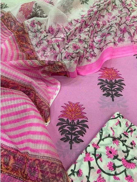 Cotton sets with doriya dupatta (3pc))