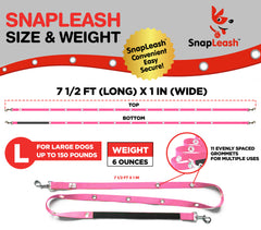 SnapLeash | Pink | 7.5ft x 1in | LARGE Dogs > 50lbs