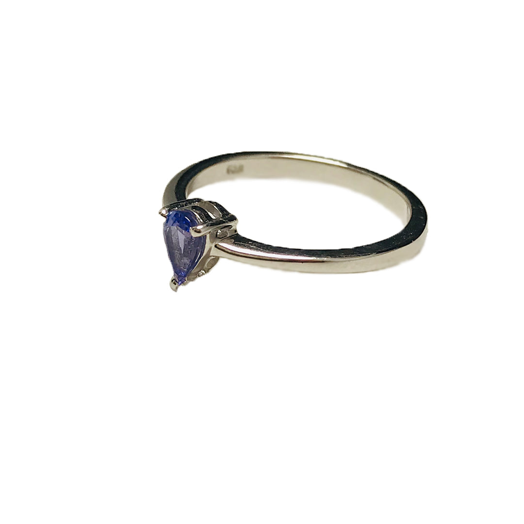 Elegant Silver Ring with Pear Tanzanite Stone Centerpiece