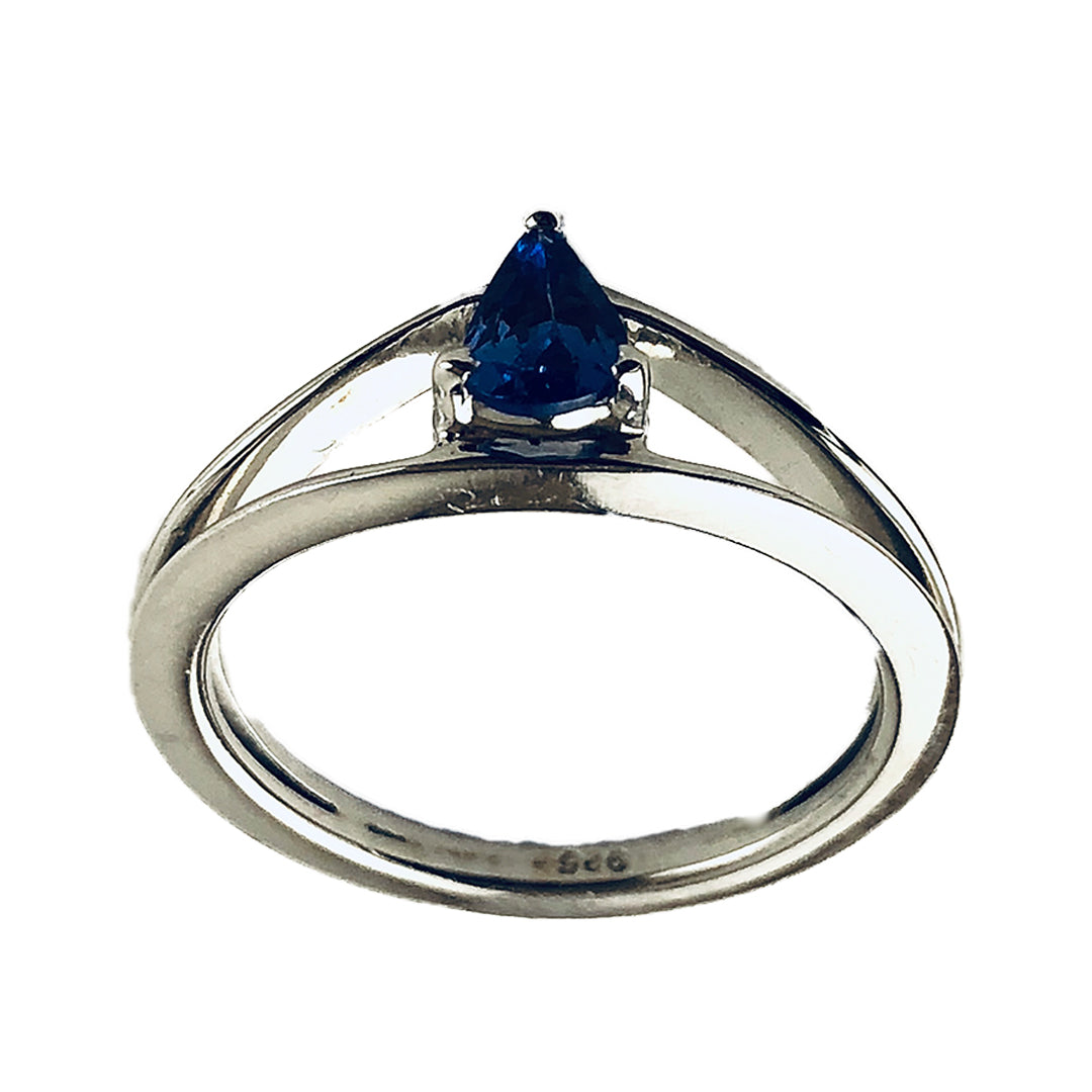 Pear Tanzanite Stone Held in Sterling Silver Ring