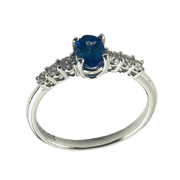 Oval Tanzanite Stone Centerpiece in Silver Ring