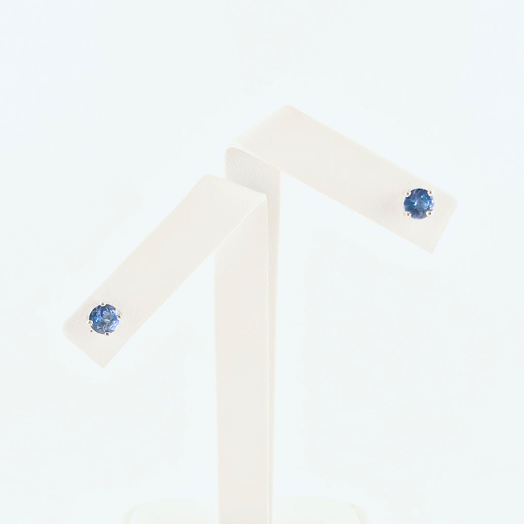 Brilliant Round Tanzanite Stones in Silver Earrings