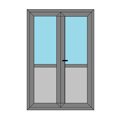 Double Doors - Midrail and Panel - Boat Doors - Style 4MP