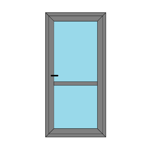 Single Door - Midrail and Glass- Boat Doors - Style 1M