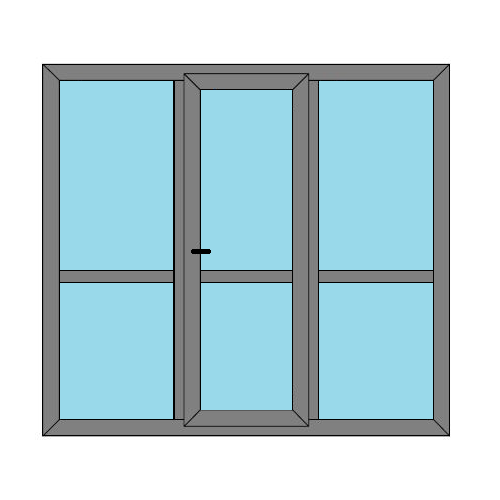 Single Door - 2 Side Panels with Midrail  - Caravan Doors and Windows - Style 3M