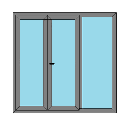 Double Doors - 1 Side Panel - Caravan Doors - Style 5