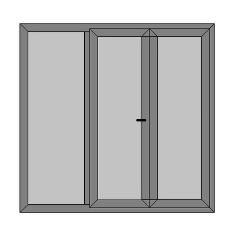 Double Doors - 1 Side Panel with Full Panel - DIY Caravan Door - Style 5P