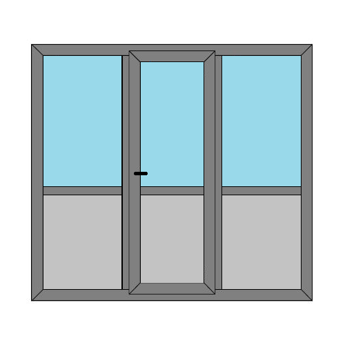 Single Door - 2 Side Panels with Midrail and Panel - Boat Doors - Style 3MP