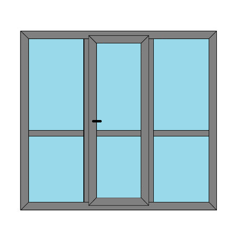 Single Door - 2 Side Panels with Midrail  - Boat Doors - Style 3M