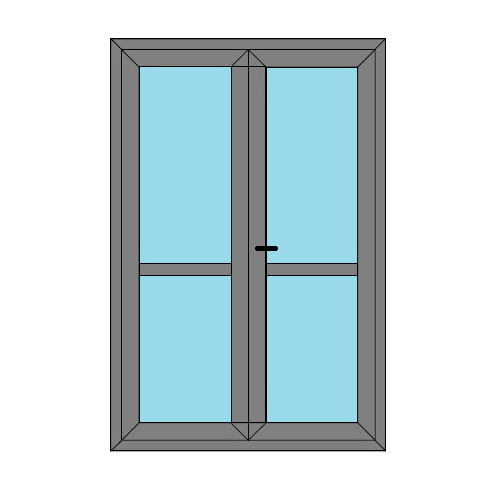 Double Doors - Midrail and Glass- Boat Doors - Style 4M