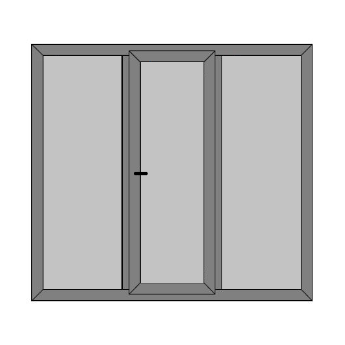 Single Door - 2 Side Panels with Full Panel - Boat Doors - Style 3P