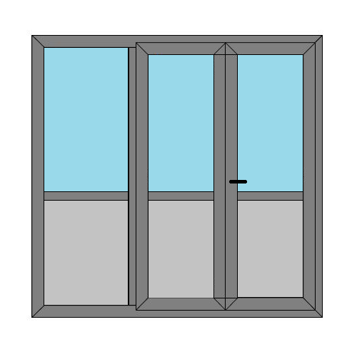 Double Doors - 1 Side Panel with Midrail and Panel - Boat Doors - Style 1MP