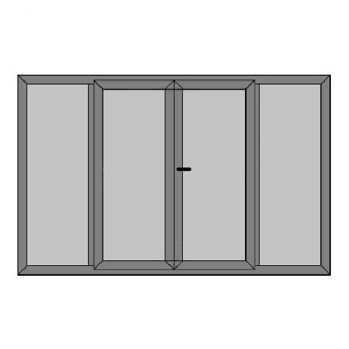 Double Doors - 2 Side PanelS with Full Panel - Static Caravan Access Doors - Style 6P
